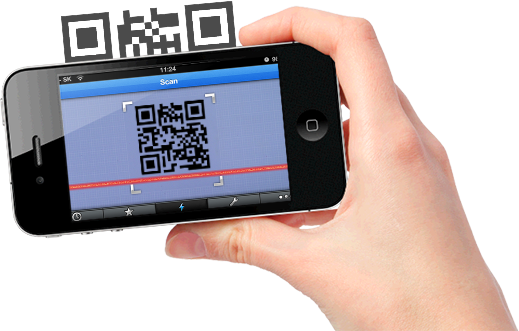 Hand scan qr code with iphone